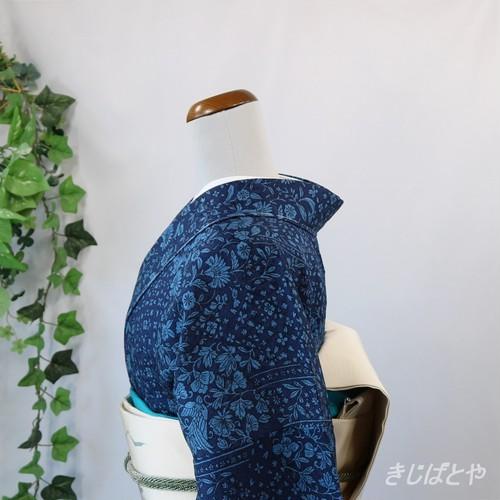 正絹綸子 藍に水色の切ばめ更紗 袷