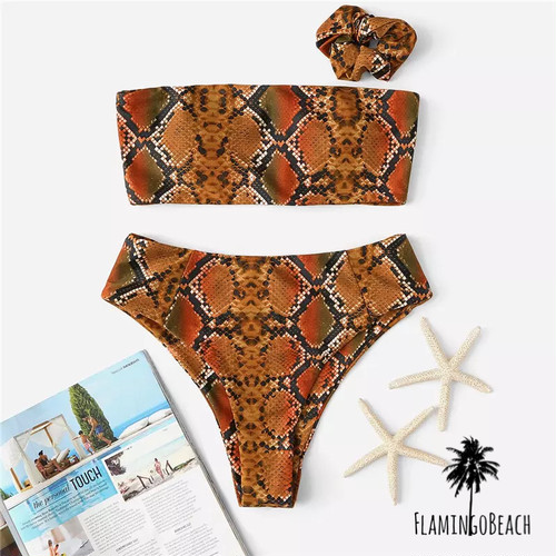 【FlamingoBeach】python high west bikini ハイウェストビキニ