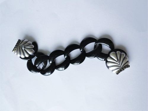 シェル&ブラックチェーンブレスレット vintage bracelet coin <BL2-L19>