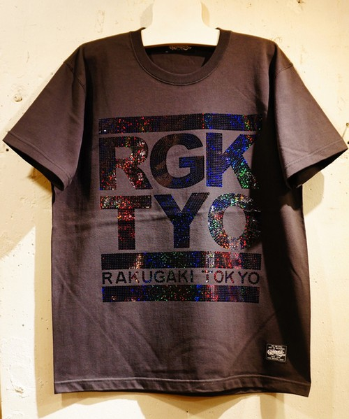RAKUGAKI OLD SCHOOL Spangle Logo T-Shirts Black x Black
