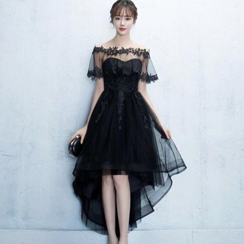 【送料無料】結婚式に♡ オフショルダー アシンメトリー 刺繍レース ドレス
