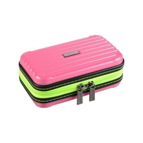 """ミニミニCENTURION・SBR-Y(ピンク×ネオンイエロー)""""スーツケースのと同じ素材で作られた小物入れポーチ  ●スーツケースと同素材だからとにかく軽くて丈夫  メイン素材には、当社の扱うスーツケースと同様、ドイツ・バイエル社製のPC/ABS材質を使用しており、軽くて丈夫です。  ●可愛くて豊富なカラーバリエーション  きっとお気に入りの「マイカラー」が見つかる!  ●シンプルだから使い勝手抜群  化粧品はもちろん、デジカメやスマホ、サングラスなど、貴重品やちょっとした小物を入れるのにも大活躍のポー"""