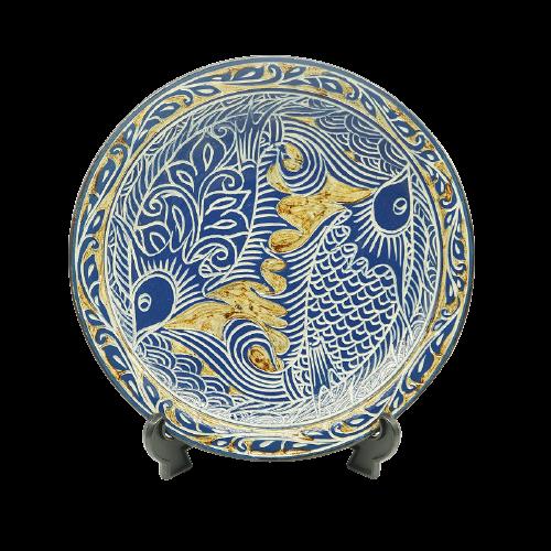 描き落とし魚紋の尺2寸皿(約36cm)金城陶器秀陶房 やちむん