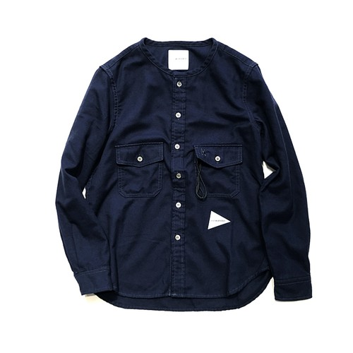 【and wander】thermonel collarless shirt for Women