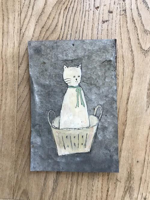 猫 バスケット ブリキ絵
