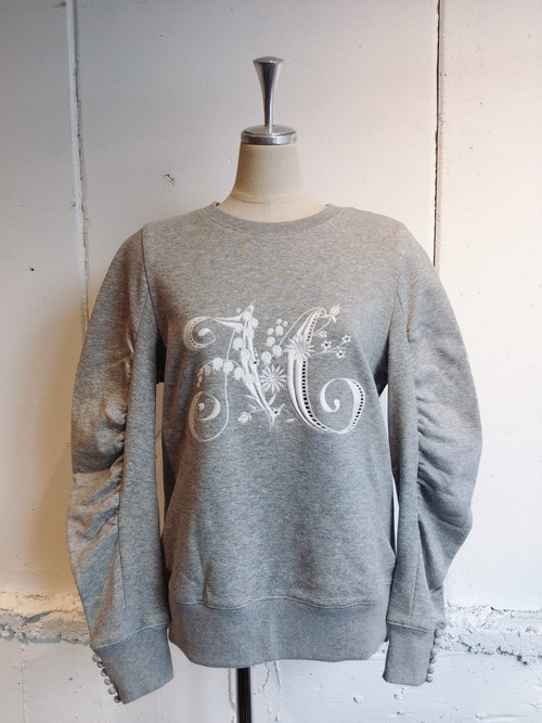 MUVEIL 刺繍入り袖ボリュームプルオーバー (heather grey)