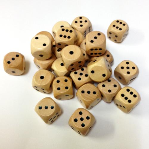 15mm木製ダイス(30個入り)