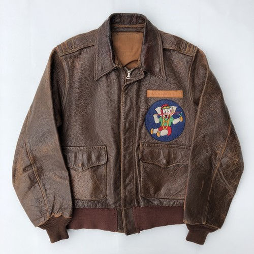 40's USAAF JACKET SUMMER TYPE A-2 Goatskin CONTRACTER J.A.DUBOW MFG.CO(size36,ダンボパッチ) ビンテージ ミリタリー フライトジャケット