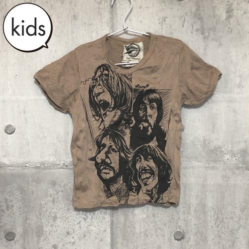 【送料無料 / ロック バンド Tシャツ】 THE BEATLES / Illustration Light Brown  Kids T-shirts M ザ・ビートルズ / イラスト ライトブラウン キッズ Tシャツ M