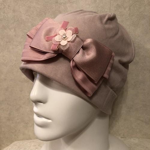 インターストライプリボンとお花のケア帽子 ピンク