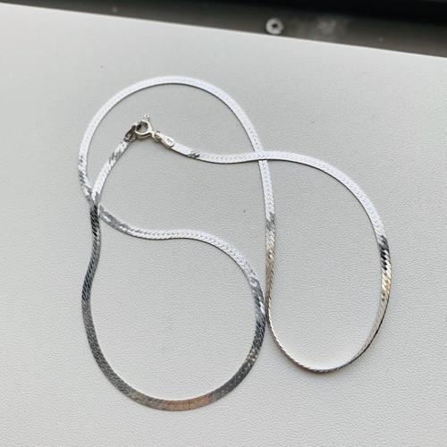 Italy 925 シルバー 華奢なヘリンボーン チョーカーネックレス(40.5cm)