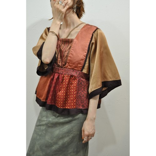 【RehersalL】 pajamas patch square neck blouse(sunset A) /【リハーズオール】パジャマ パッチスクエアネックブラウス(サンセットA)