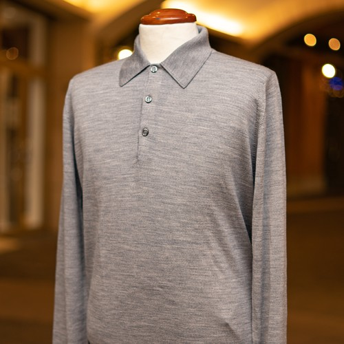 JOHN SMEDLEY WOOL LONG SLEEVE POLO SHIRT SILVER