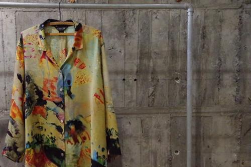 CITRON silk abstract opencollar shirt(USED)