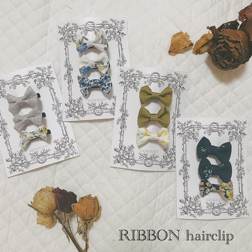 RIBBON hairclip for baby ( 3piece set ) / ベビーヘアクリップ 3点セット