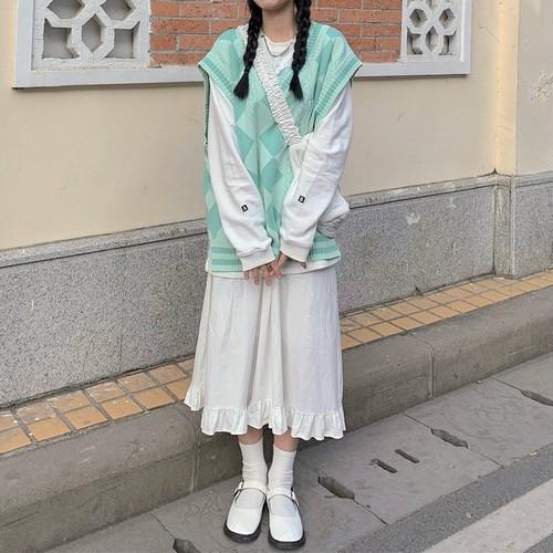 【3点セット】チェックベスト+トレーナー+フリル裾スカート ・14661