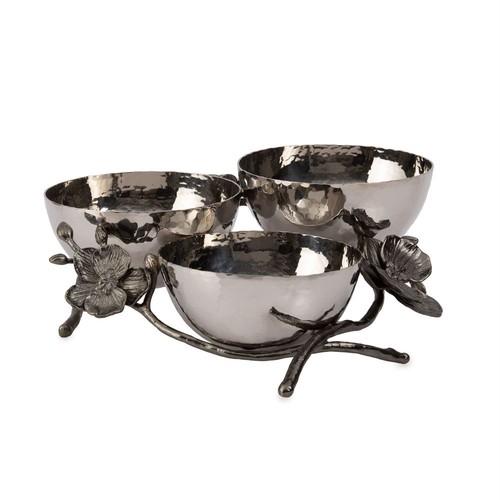 Michael Aram Black Orchid Triple Nut Dish / 110869