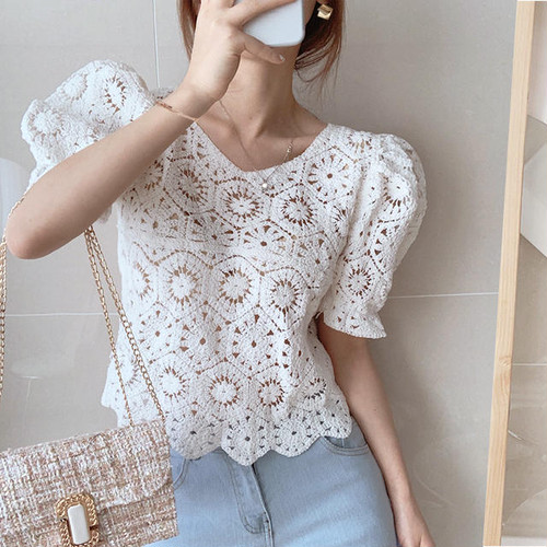 lace puff tops 2color