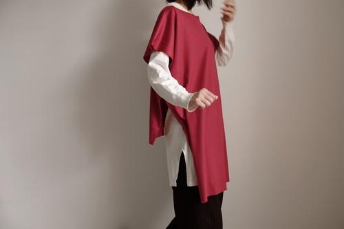 2way プルオーバー ニット / ワイドスクエアー ハーフスリーブ/上質ウールニット【 赤 】ボートネック サイドスリット 裾切りっ放し  / wide square half sleeve pullover / wool knit【 red 】boat neck side slit