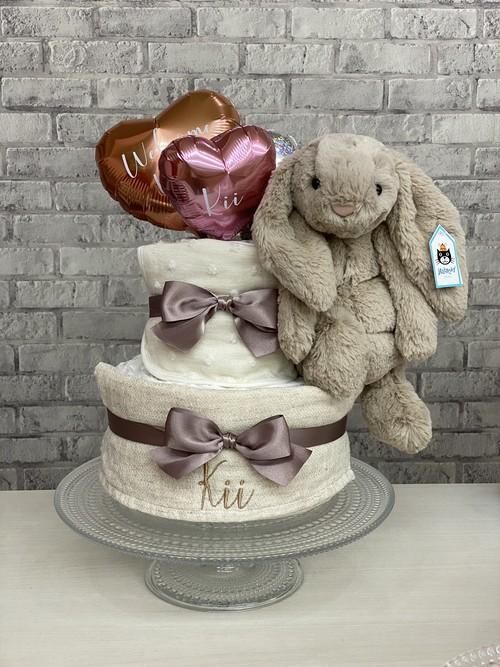 NEW‼︎オーガニックスタイのbeige bunnyおむつケーキ♡