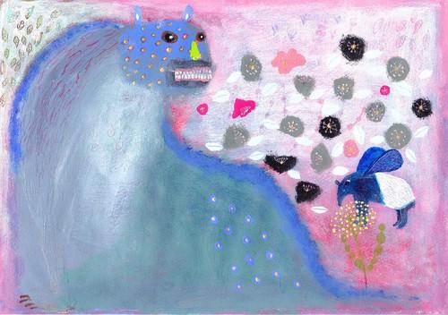 ポストカード「 ケモノとお花 」