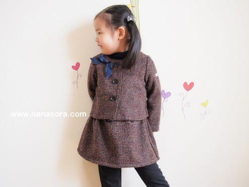 子供だってきちんと服♪ウールのジャケット&スカート リボンブローチ付き  ネイビー