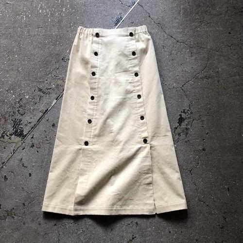 Button slit corduroy long skirt    Color : White