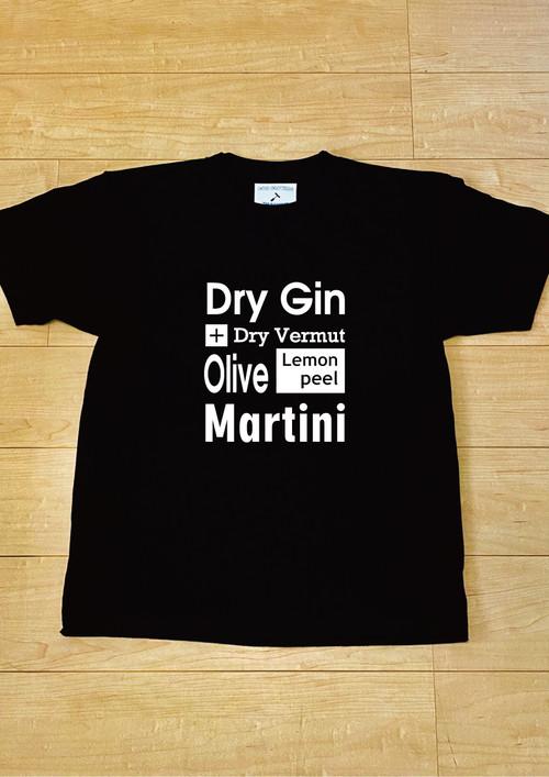 """""""Martini"""" Cocktaill Tシャツ  / T-Shirt (Black) / 5.6オンス ヘビーウェイト"""