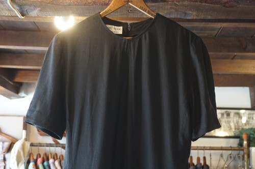 70's Albert Nipon black rayon linen panel Dress