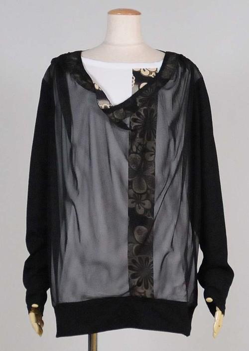 gouk侍 ネットパーカー付き長袖Tシャツ 黒 GGD26-T854 BK/M