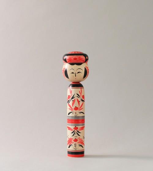 作並伝統こけし-赤 | 平賀こけし店 平賀輝幸工人 / Traditional style of Sakunami kokeshi- red and black, made by Teruyuki Hiraga