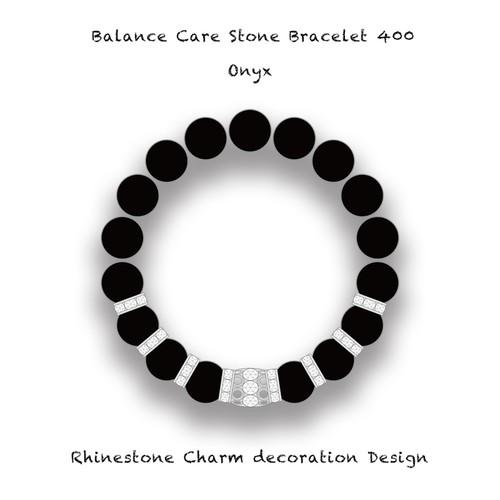 バランスブレスレット400 ラインストーンチャーム デコレーション デザイン・オニキス(10mm)