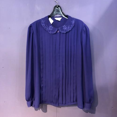purple embroidery design blouse [B1161]