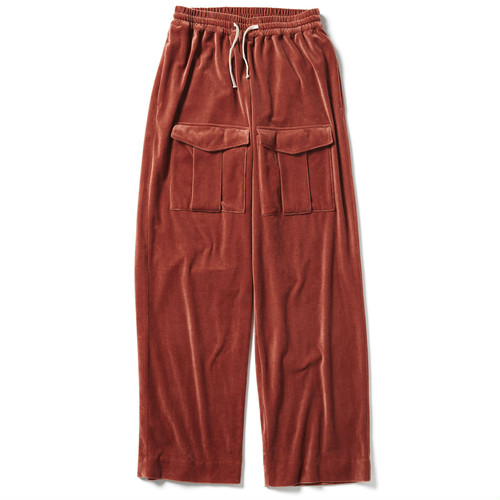【FILL THE BILL】VELOUR WIDE PANTS - ORANGE
