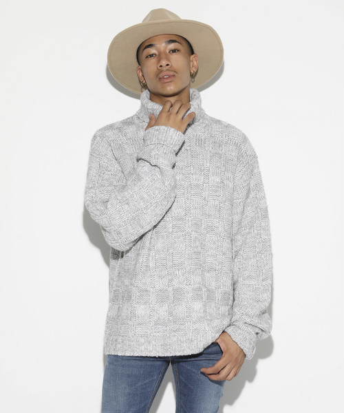 Low gauge Mix Knit [Light Gray]