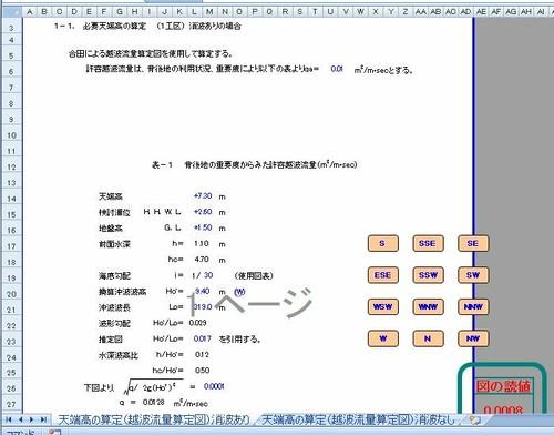 天端高の算定(越波流量算定図より) エクセル ダウンロード