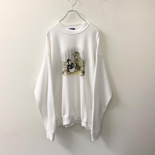 アニマルプリント スウェット ホワイト size XL USA製 メンズ 古着