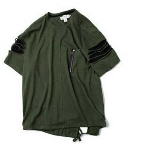送料無料メンズ大きいサイズ袖カットダメージカーキTシャツ