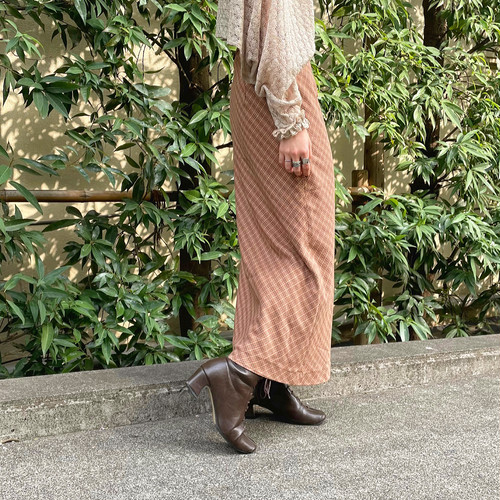 (LOOK) check long skirt