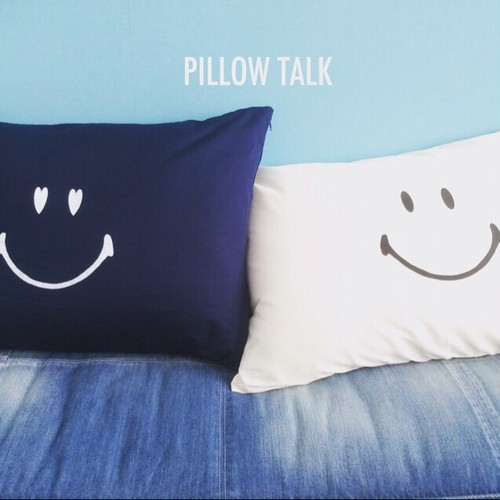 SMILE YES/NO PILLOW CASE [ NAVY]