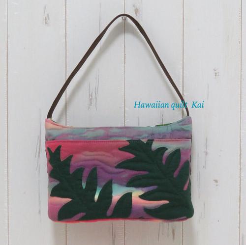 夕暮れに揺れるシダ。ハワイアンキルトで作るバッグインバッグのオリジナルキット。中級者さん向けbag in bag