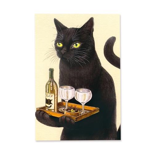 8.ねこと晩酌 ポストカード / Evening Drink with Black Cat Postcard