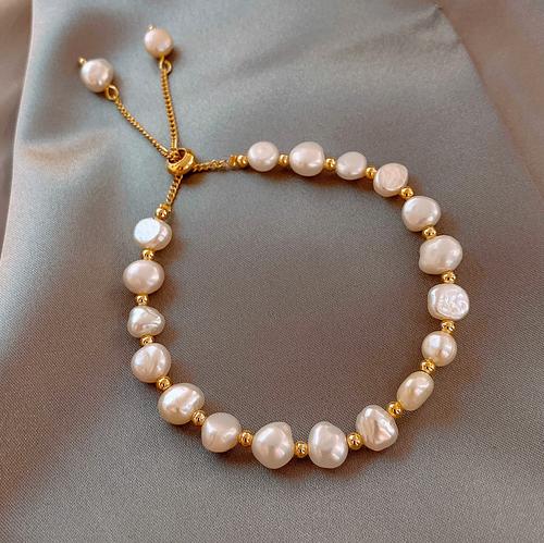 【ブレスレット】天然パール/真珠 貝調整可能閨の友上品 おしゃれ エレガント ナルシス