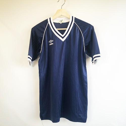 umbro navy V-neck soccer Raglan sleeve shirts ラグラン袖サッカーシャツ日本古着 size M