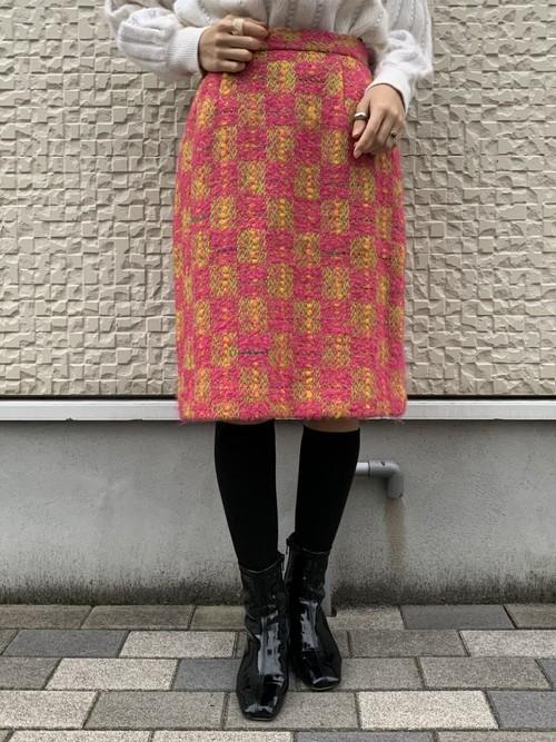 (TOYO) block check tight midi skirt