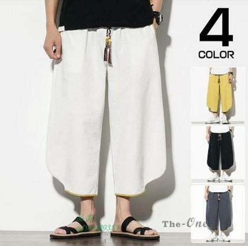 ワイドパンツ メンズ 8分パンツ チノパン イージーパンツ ゆったり アンクル丈 サルエルパンツ 涼しいズボン