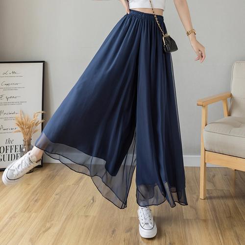 【bottoms】ファッションハイウエストシフォンガウチョパンツ合わせやすい