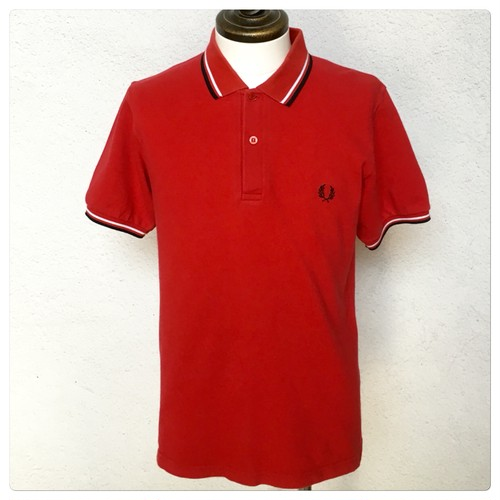 Fred Perry Twin Tipped Polo Shirt Red 38 Made In England