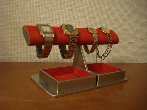 クリスマスにどうぞ ウオッチ ディスプレイ レッドだ円ダブルでかいトレイ腕時計スタンド ak-design No.131106