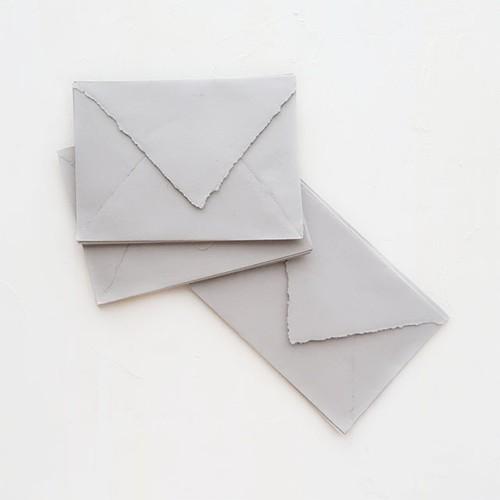 ハンドメイドペーパー 封筒 グレー 3枚入り/Sea Fog Small Envelopes - C6